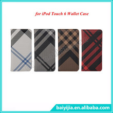 High Quality OEM Leather Case for iPod Touch 6 Wallet Cover Stand Flip Case Grid Pattern