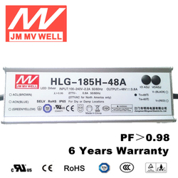 triac dimmable led driver 185W waterproof dimmable led driver with 6 years warranty