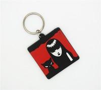 Shenzhen factory wholesale 2d cool girls plastic keychain, hot girls key chain