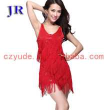Sexy shiny fabric fringe stage latin dance dress for women L-7005#
