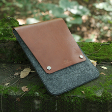 Brown Italian vegetable tanned Leather & wool felt for iPad mini case with foldover design and a snap-type closure
