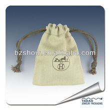 Cheap custome jute drawstring jewelry pouch with logo printed