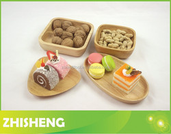 CND-W01S 4-pieces Wooden snake plates, wooden palte set, wood chip and dip plate