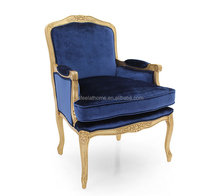 Hotel Solid Wooden Armchair French Golden Antique Chair