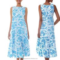 2015 latest batik casual summer dress blue cotton sleeveless maxi dress batik indonesia dress wholesale
