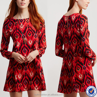 oem clothing factory printed dresses women casual ladies loose short dresses with long sleeves latest derss pattern for girls