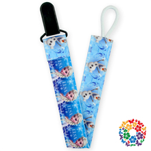 2015 Cute Baby Pacifier Clip Holder Funny Cartoon Printed Ribbon Double Different Side Plastic Baby Pacifier Chain Clip