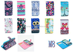 Cute Owl love Tower Ethnic Leather Stand Flip Wallet Case for HTC One 2 m8 m8x
