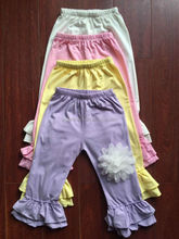 Candy color cotton little girls modeling pants cheap china wholesale kids clothing ruffle pants latest design baby frock