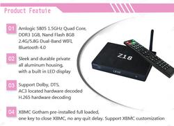 Best android tv box Z18 Amlogic s805 Quad core Mali-450MP 1GB/8GB 4K full hd 1080p porn video android tv box