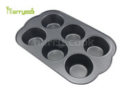 Hot Carbon Steel Big 6 Cup Cake Mould Muffin Pan