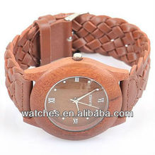 2012 New fashion New wood watch display case and leather strap