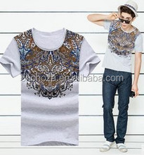 Z56111A Whosale low price men's clothing, men's fashion floral print t-shirt