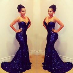 C64485A sexy long dress Trailing sequined gowns for ladies