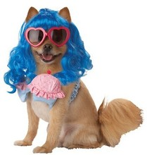party costumes Novelty blue long curls pet wig