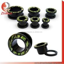 Zhiren Popular Black Acrylic ear tunnel, acrylic ear plugs, acrylic piercing plugs