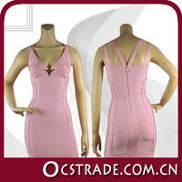 2014 new arrival pink movie star evening dress