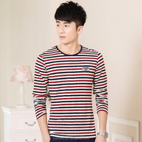 2015 Mens T Shirt Fashion Stripped Stylish O-Neck Long Sleeve Casual T-Shirt Man Plus Size 3XL 2XL XL Tshirt