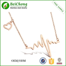 Love pulsating electrocardiogram clavicle stainless steel rose gold necklace