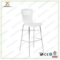 WorkWell KW-B2234a modern metal frame plastic/PVC white bar stool high chair/bar stool
