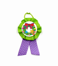 2015 Fashion ChristmasTrim Ribbon / Flower ribbon Ornament with ball chain hanging made by Disney Supplier
