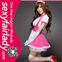 Paypal acceptable white and pink sexy french maid wear