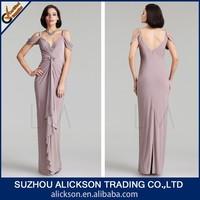 Engaging Floor Length V-neck Beading Chiffon Arabic Evening Dress