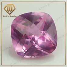 corundum ruby 925 sterling silver ring cushion cut1.5# checkerboard pink ruby