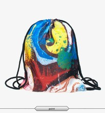 vintage backpack polyester multi cartoon abstract paint design for outdoor use ready stock