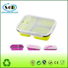 2015 hot selling silicone 3-compartment bento lunch box containers