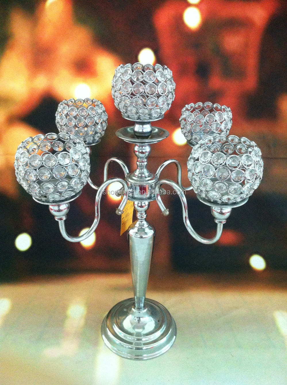 Arms tall wedding crystal globe candelabra centerpiece