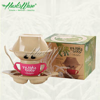Husk'sware natural rice husk fiber 100% eco and biodegradable tableware , microwave safe dinner sets endorsed by TUV and SGS