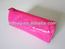 Seam line pink PVC leather rolling ladys cosmetic case