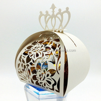 Ivory Royal Beautiful Laser Cut Floral Wedding Candy Gift Box