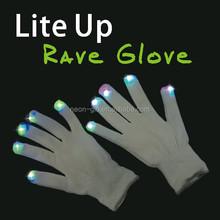 LED Rave Flashing Gloves Glow 7 Mode Light Up Finger Lighting Black New party favor