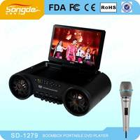 DVD/VCD/CD/MP3/MP4 player,programmable&memory playback Echo Dual mic jacks karaoke function
