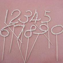 Number Fashion New Design Sparking Silver Crystal Rhinestone Cake Topper for Wedding / Birthday party cake accessory