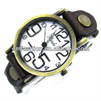 Vintage cow leather watch punk round big face watch