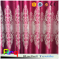 African/Middle east style silk like polyester material100% blackout flocked fabrics for curtain