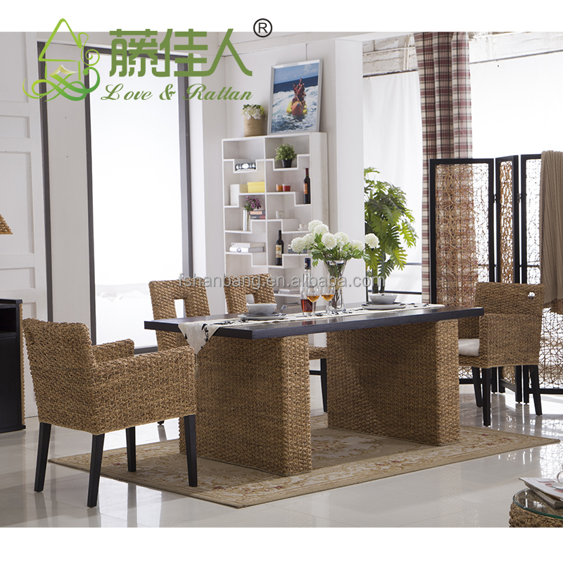 China Hotsale rattan wicker dining table and chair set