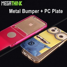 Hot Selling Aluminum Metal Bumper + Plastic Back Plate Cover Case for iPhone 4s 5s 6 and 6 Plus with Embossed Printing Logo