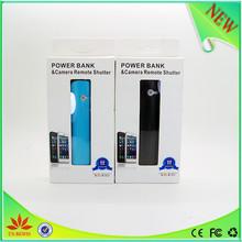 bluetooth portátil banco de energía móvil con el bluetooth del obturador para tomar fotos