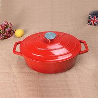 Enamel cast iron two handle saucepan