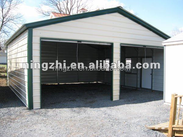 Double car metal garages steel frame kit building prefab for Double garage kit