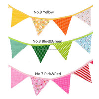 Colorful Handmade Fabric Party Flag Banner Pennant Bunting Casamento Birthday Baby Shower Halloween Kids Decoration Suppies