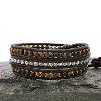 Triple 4MM Tiger Beads Wrap Bracelet With Tree Of Life Charm Button