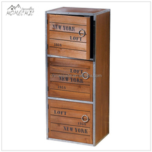 Custom simple loft 3 drawer wooden filing cabinet/file cabinet