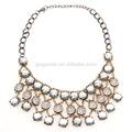 vintage hecho a mano tres capas de diamantes de imitación de las placas martillado de cristal cuentas de collar de gargantilla