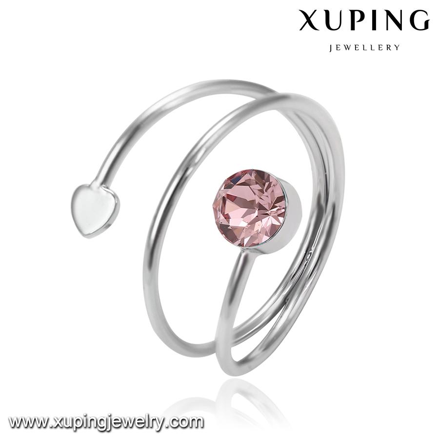 14527 Xuping haute qualité Swarovski bague ouvert ravissante avec diamant rose ou bleu foncé pour les femmes