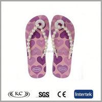 fashion hot sale europe violet heart closed toe flip flops